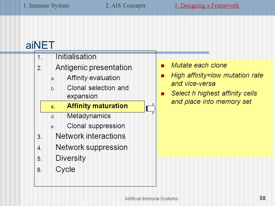 1. Initialisation 2. Antigenic presentation a. Affinity evaluation b.