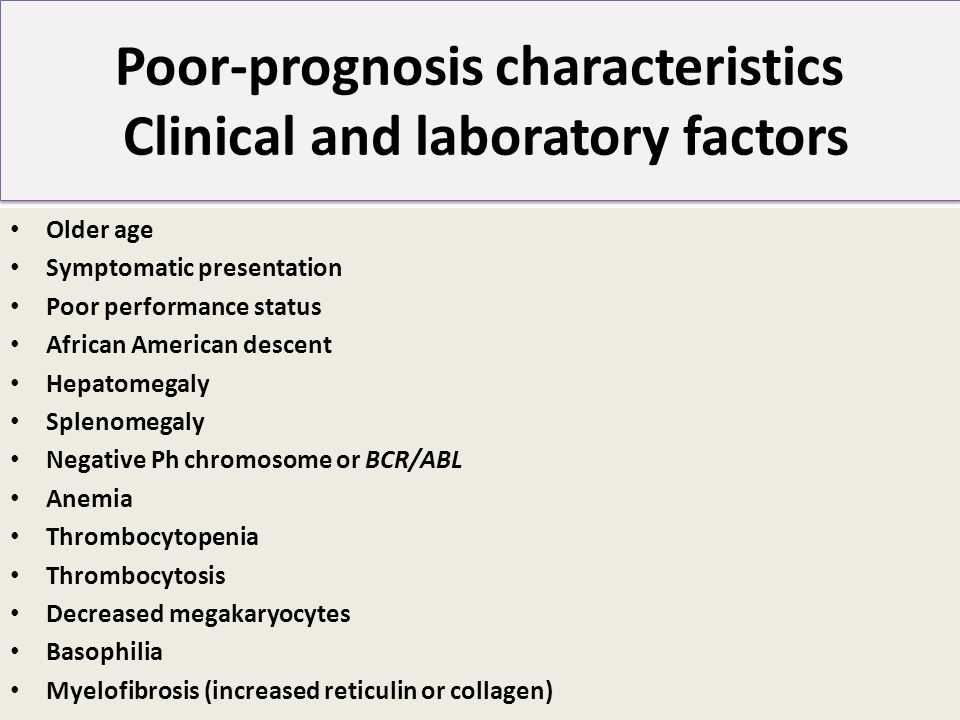 Poor-prognosis characteristics Clinical and laboratory factors Older age Symptomatic presentation Poor performance status African American descent Hep