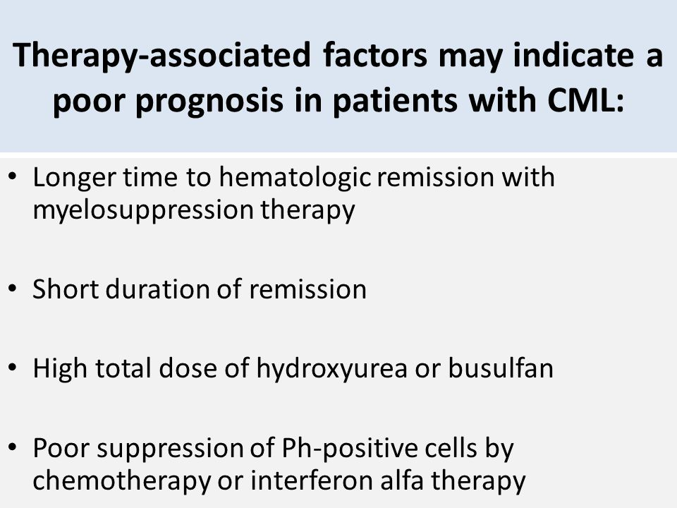 Therapy-associated factors may indicate a poor prognosis in patients with CML: Longer time to hematologic remission with myelosuppression therapy Shor