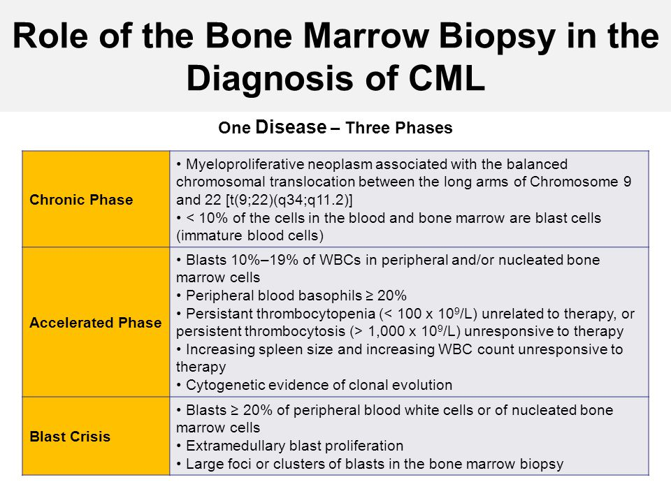 Role of the Bone Marrow Biopsy in the Diagnosis of CML One Disease – Three Phases Chronic Phase Myeloproliferative neoplasm associated with the balanc