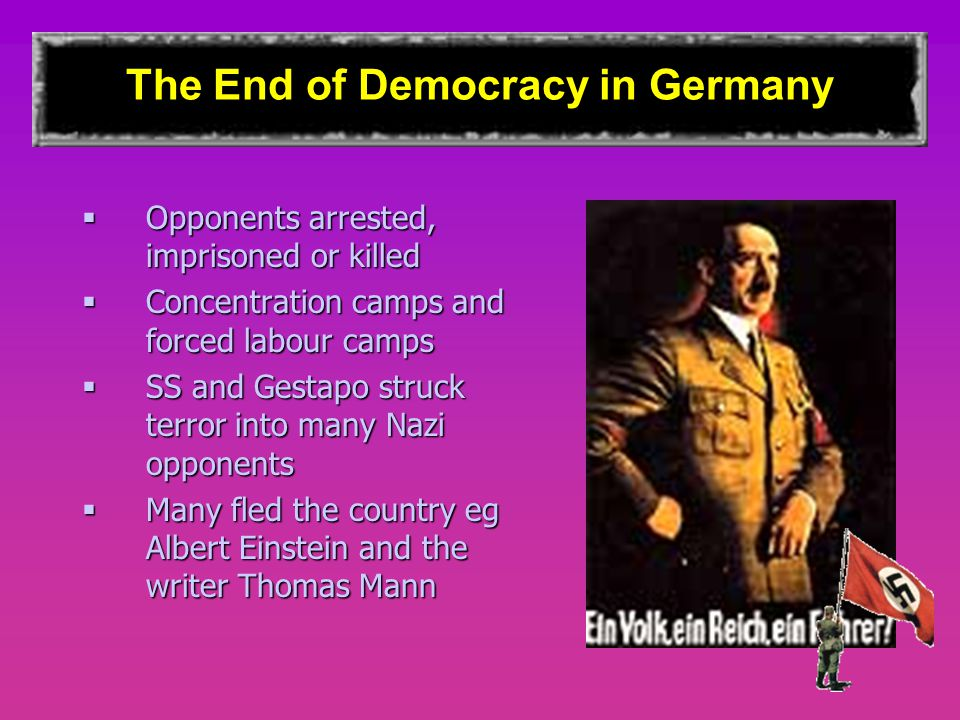 The End of Democracy in Germany  Opponents arrested, imprisoned or killed  Concentration camps and forced labour camps  SS and Gestapo struck terror into many Nazi opponents  Many fled the country eg Albert Einstein and the writer Thomas Mann