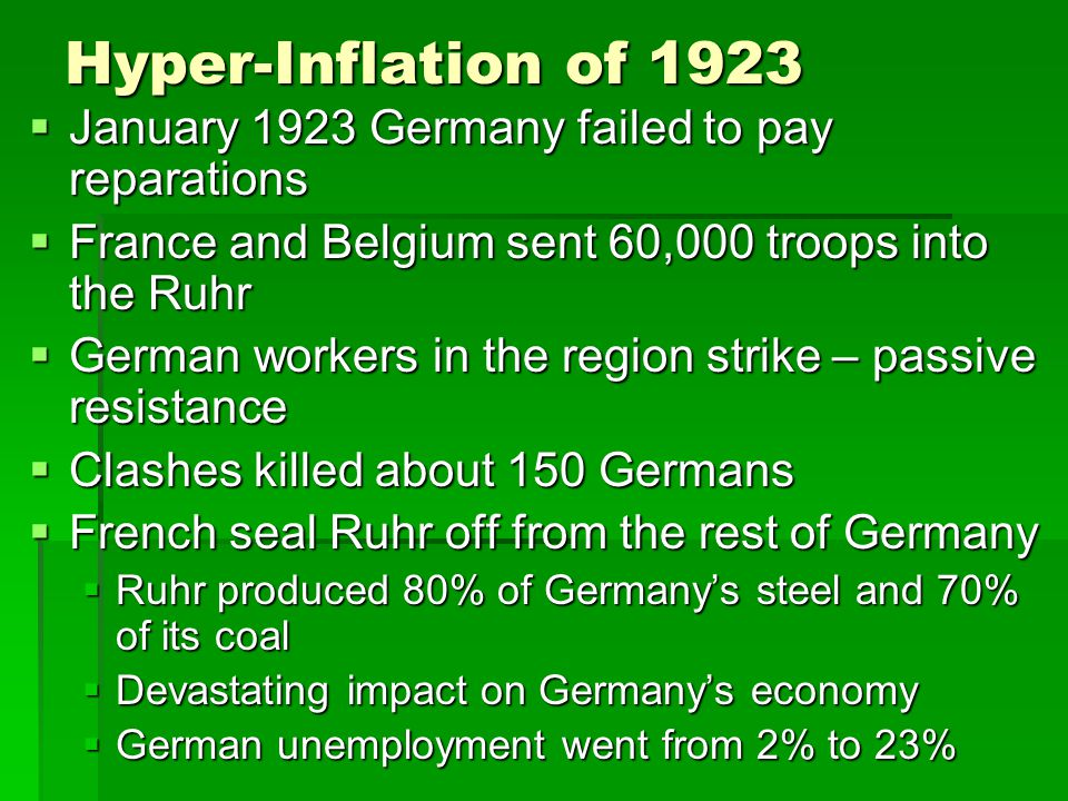 Hyper-Inflation of 1923  January 1923 Germany failed to pay reparations  France and Belgium sent 60,000 troops into the Ruhr  German workers in the