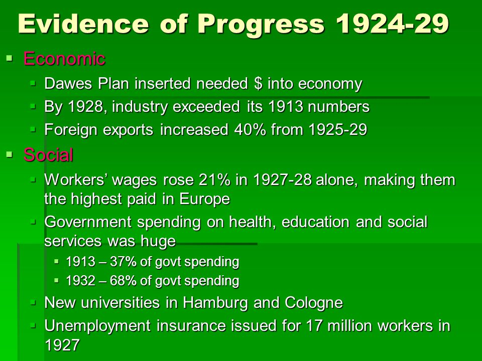 Evidence of Progress 1924-29  Economic  Dawes Plan inserted needed $ into economy  By 1928, industry exceeded its 1913 numbers  Foreign exports in