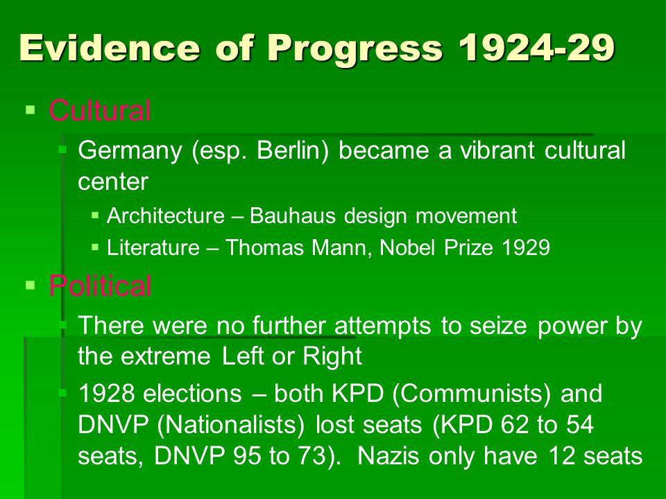 Evidence of Progress 1924-29   Cultural   Germany (esp. Berlin) became a vibrant cultural center   Architecture – Bauhaus design movement   Li