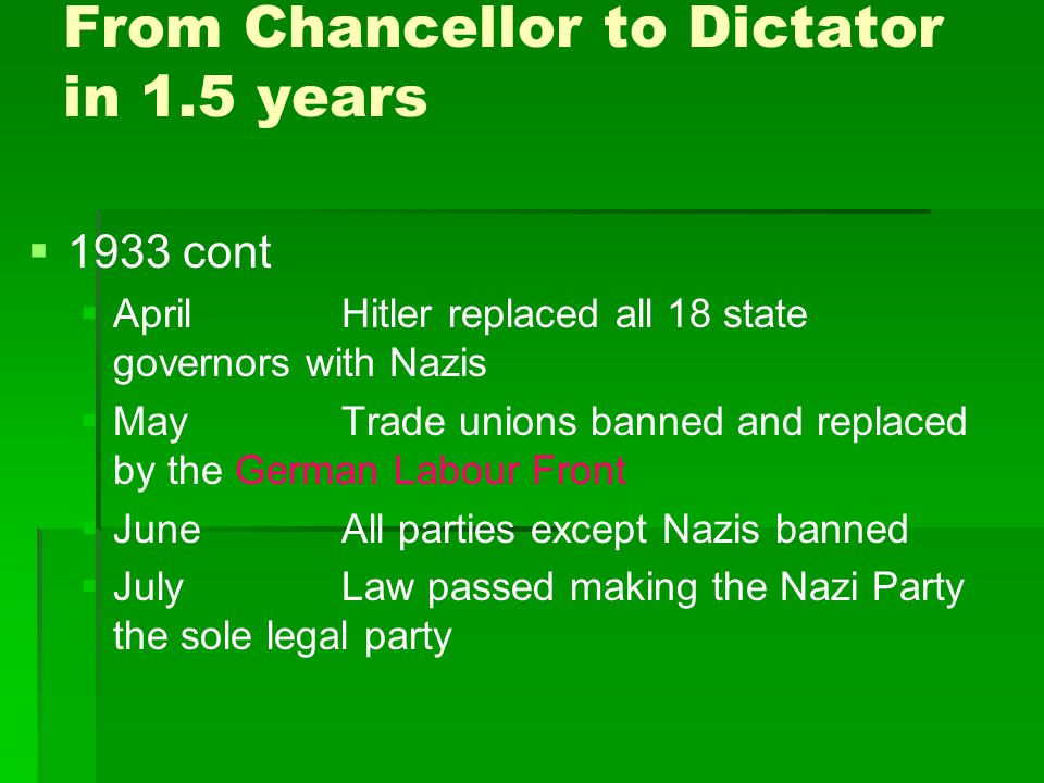 From Chancellor to Dictator in 1.5 years   1933 cont   AprilHitler replaced all 18 state governors with Nazis   MayTrade unions banned and repla