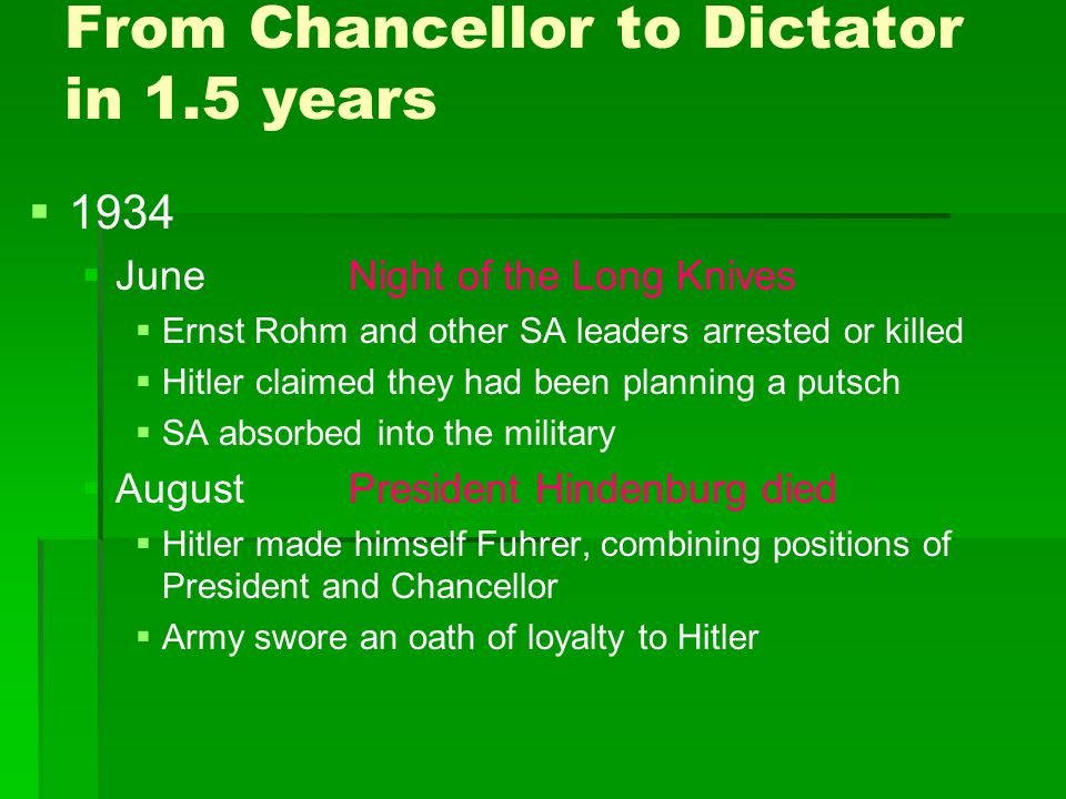 From Chancellor to Dictator in 1.5 years   1934   JuneNight of the Long Knives   Ernst Rohm and other SA leaders arrested or killed   Hitler c