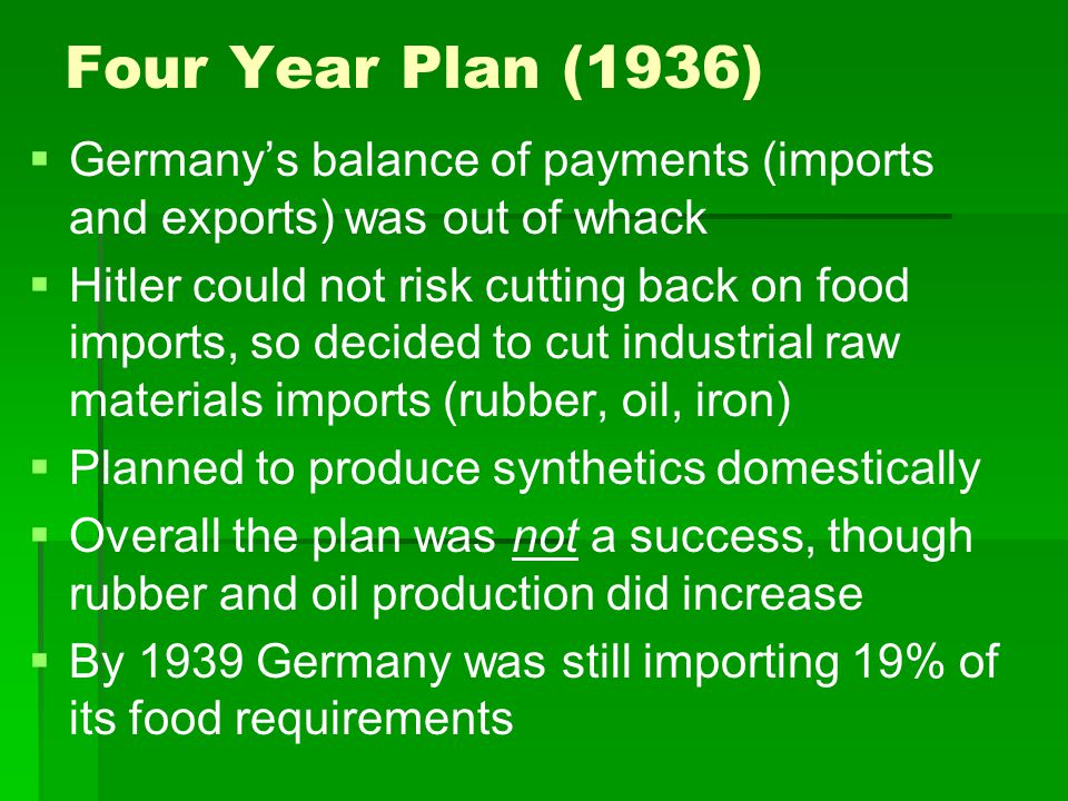 Four Year Plan (1936)   Germany's balance of payments (imports and exports) was out of whack   Hitler could not risk cutting back on food imports,