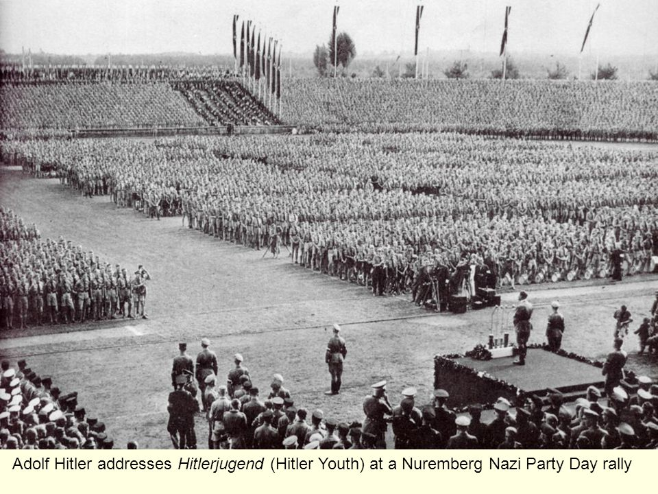 Adolf Hitler addresses Hitlerjugend (Hitler Youth) at a Nuremberg Nazi Party Day rally