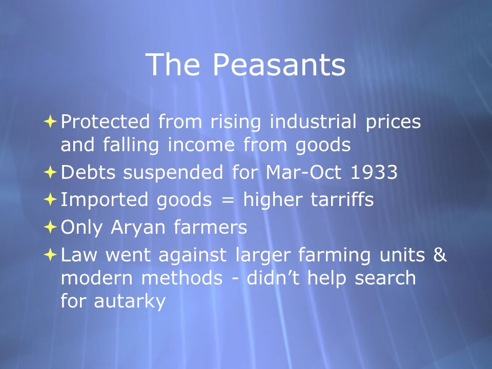 The Peasants  Protected from rising industrial prices and falling income from goods  Debts suspended for Mar-Oct 1933  Imported goods = higher tarr