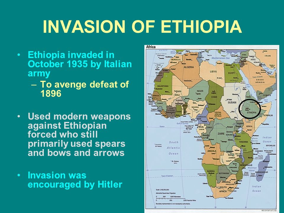 INVASION OF ETHIOPIA Ethiopia invaded in October 1935 by Italian army –To avenge defeat of 1896 Used modern weapons against Ethiopian forced who still