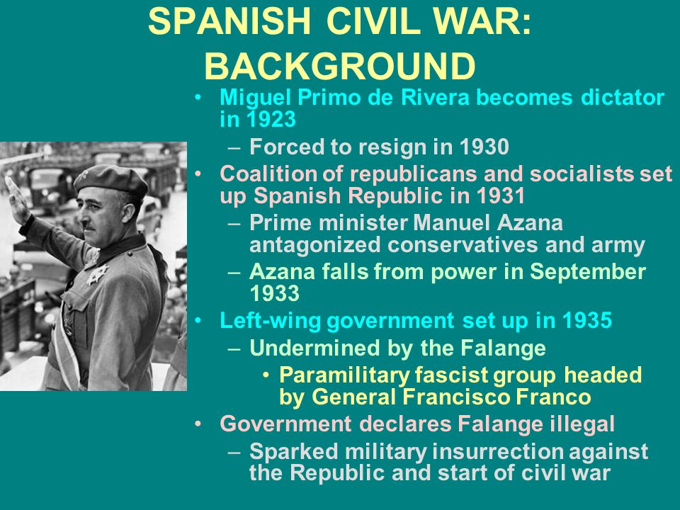 SPANISH CIVIL WAR: BACKGROUND Miguel Primo de Rivera becomes dictator in 1923 –Forced to resign in 1930 Coalition of republicans and socialists set up