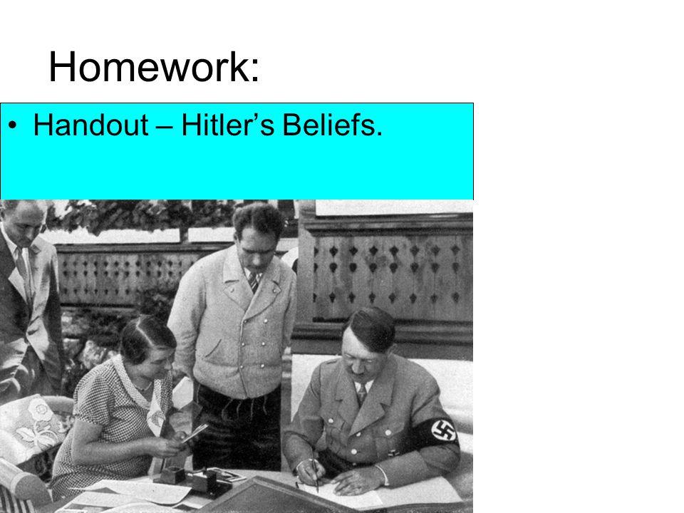 Homework: Handout – Hitler's Beliefs.