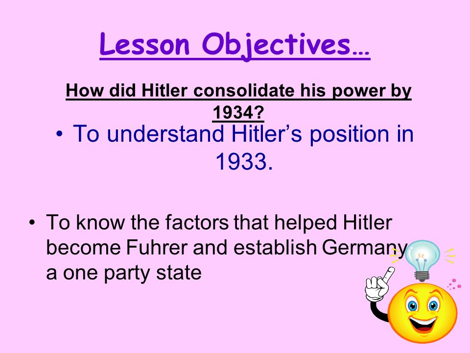 Lesson Objectives… To understand Hitler's position in 1933. To know the factors that helped Hitler become Fuhrer and establish Germany as a one party