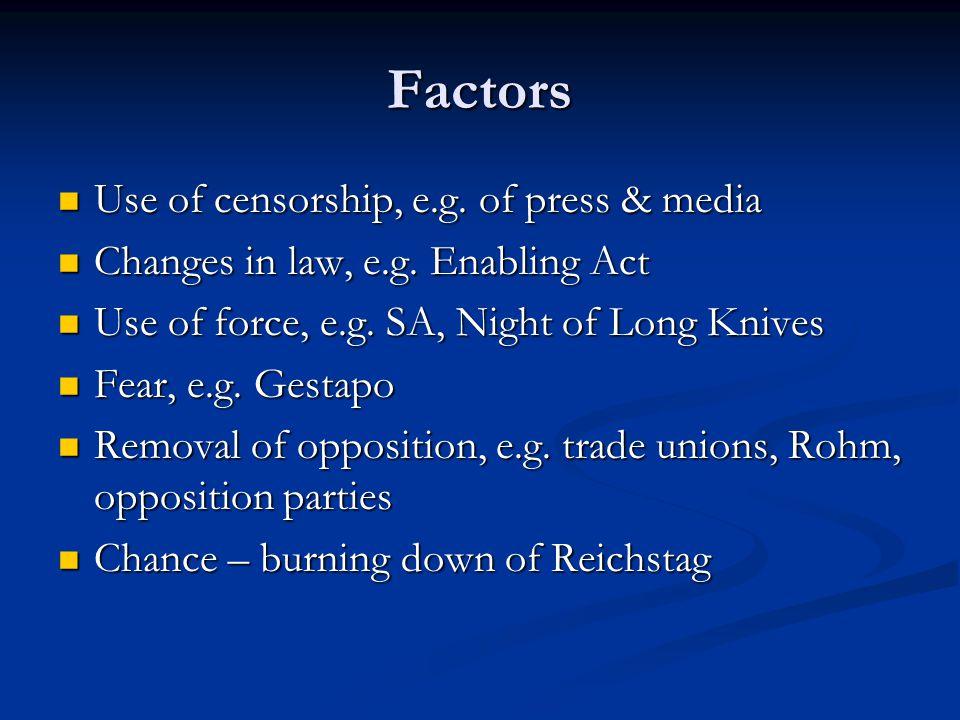 Factors Use of censorship, e.g. of press & media Use of censorship, e.g. of press & media Changes in law, e.g. Enabling Act Changes in law, e.g. Enabl