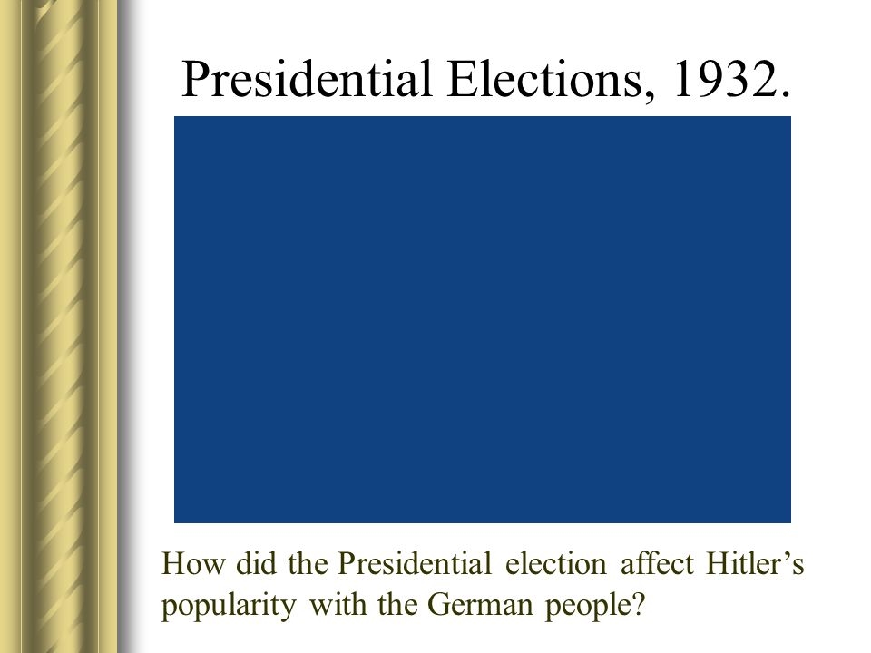 Presidential Elections, 1932. How did the Presidential election affect Hitler's popularity with the German people?