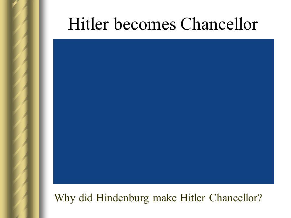 Hitler becomes Chancellor Why did Hindenburg make Hitler Chancellor