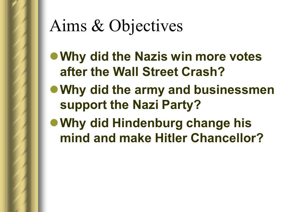 Hitler becomes Chancellor Why did Hindenburg make Hitler Chancellor?