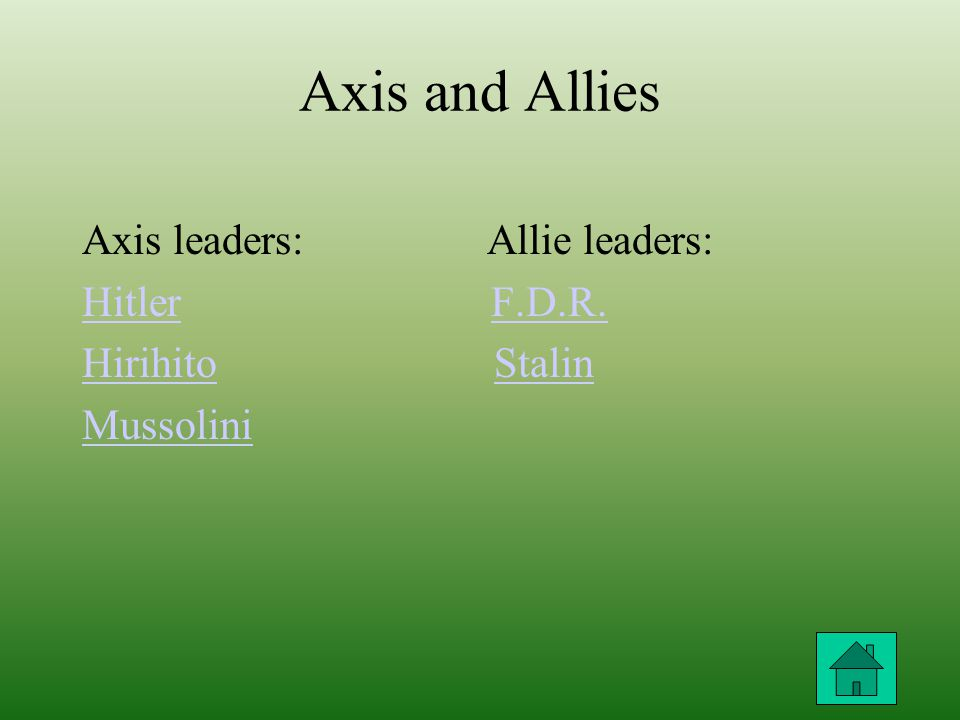 Axis and Allies Axis leaders: Allie leaders: HitlerHitler F.D.R.F.D.R.