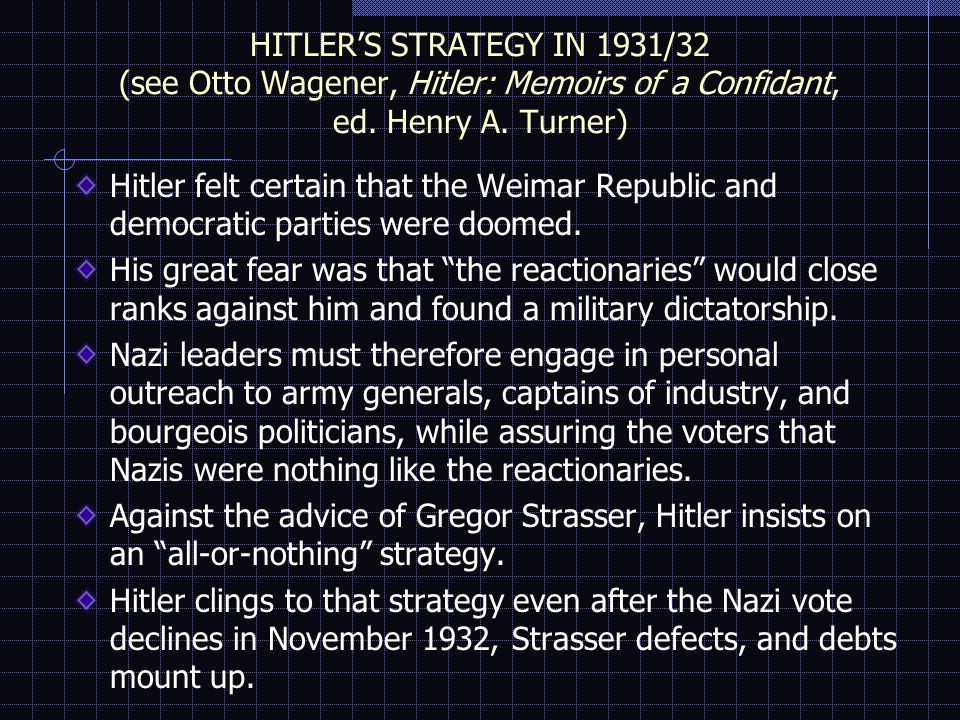 HITLER'S STRATEGY IN 1931/32 (see Otto Wagener, Hitler: Memoirs of a Confidant, ed.