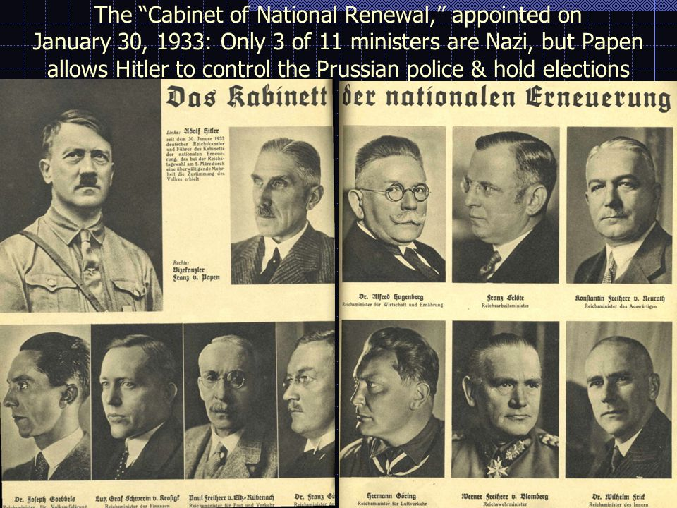 INSTITUTIONS OF THE THIRD REICH  The NSDAP becomes the ONLY party in June 1933; membership is frozen at 2.5 million in December, including 20% of civil servants and 30% of teachers.