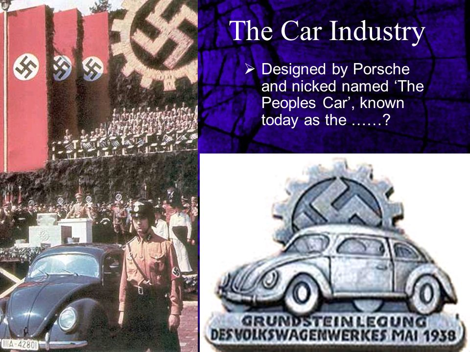 The Car Industry  Designed by Porsche and nicked named 'The Peoples Car', known today as the ……?