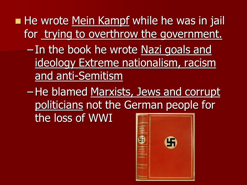 He wrote Mein Kampf while he was in jail for trying to overthrow the government.