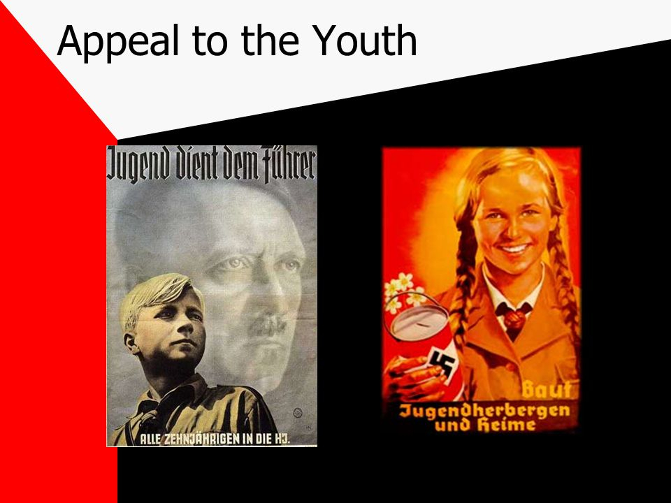 Appeal to the Youth Nazi youth groups--Hitler's Youth and Bund Deutcher Moedel Special uniforms and youth rallies and parades NAZI toys Media sessions with the children
