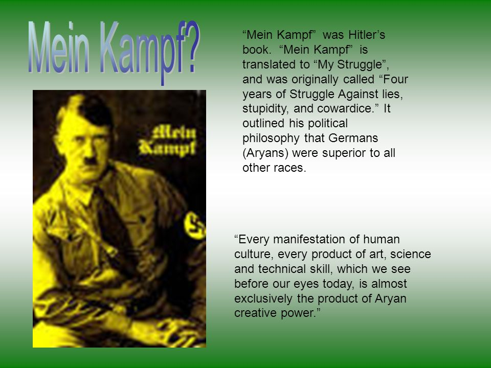 """""""Mein Kampf"""" was Hitler's book. """"Mein Kampf"""" is translated to """"My Struggle"""", and was originally called """"Four years of Struggle Against lies, stupidity"""