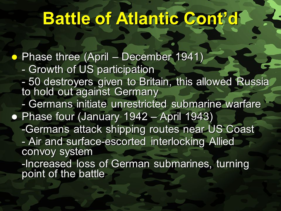 Slide 32 Battle of Atlantic Cont'd Phase three (April – December 1941) Phase three (April – December 1941) - Growth of US participation - 50 destroyers given to Britain, this allowed Russia to hold out against Germany - Germans initiate unrestricted submarine warfare Phase four (January 1942 – April 1943) Phase four (January 1942 – April 1943) -Germans attack shipping routes near US Coast - Air and surface-escorted interlocking Allied convoy system -Increased loss of German submarines, turning point of the battle