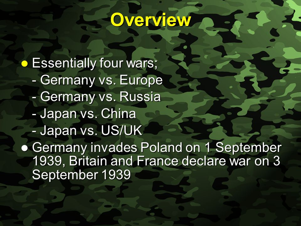 Slide 6 Overview After the fall of Poland Anglo-French forces content to remain on the defensive After the fall of Poland Anglo-French forces content to remain on the defensive French troops build up around the Maginot Line opposite the German Siegfried Line (a defensive strategy) French troops build up around the Maginot Line opposite the German Siegfried Line (a defensive strategy) Germans go around Maginot Line; invades Denmark, Norway, Holland Belgium and France Germans go around Maginot Line; invades Denmark, Norway, Holland Belgium and France