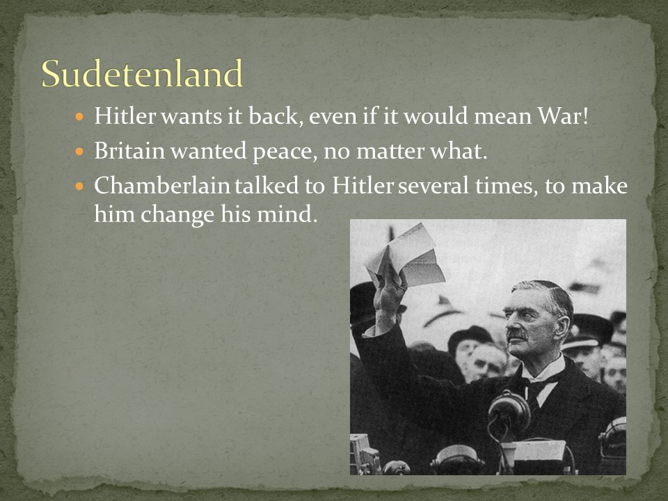 Hitler wants it back, even if it would mean War. Britain wanted peace, no matter what.