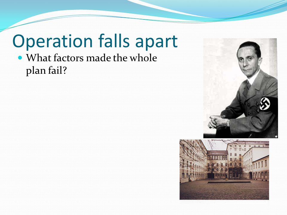 Operation falls apart What factors made the whole plan fail
