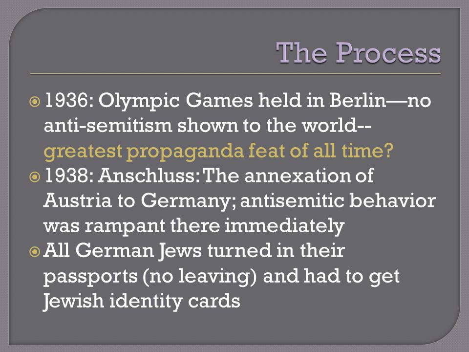  1936: Olympic Games held in Berlin—no anti-semitism shown to the world-- greatest propaganda feat of all time.