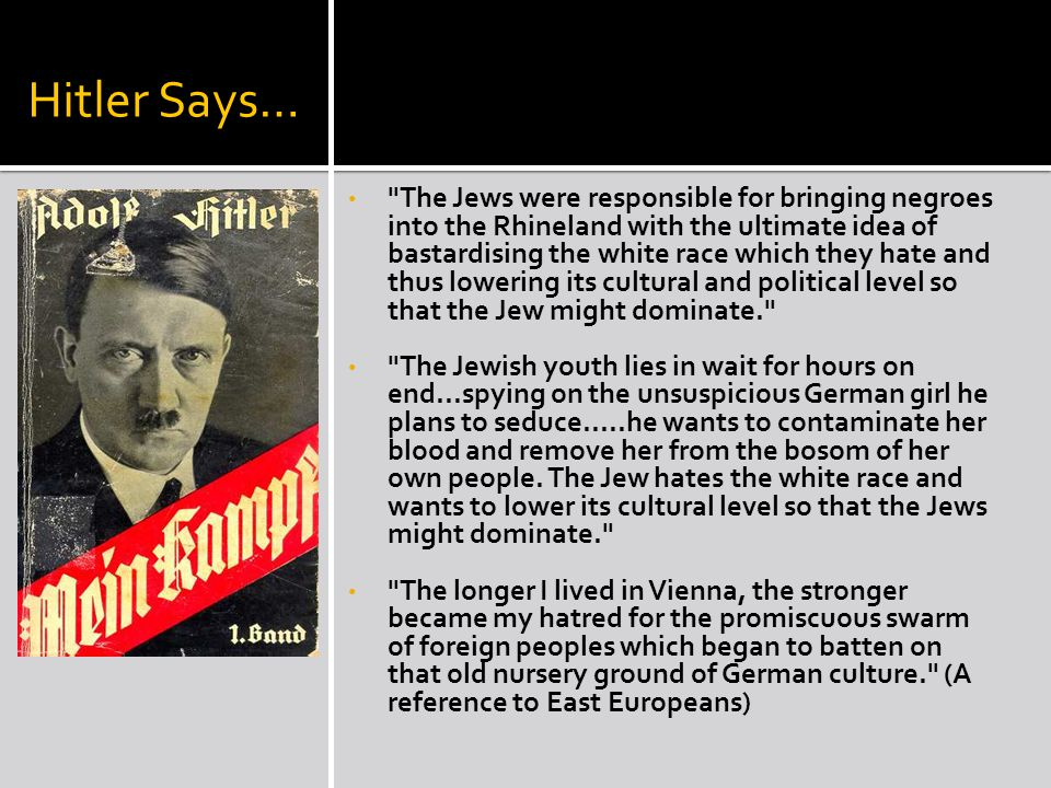 Hitler Says… The Jews were responsible for bringing negroes into the Rhineland with the ultimate idea of bastardising the white race which they hate and thus lowering its cultural and political level so that the Jew might dominate. The Jewish youth lies in wait for hours on end...spying on the unsuspicious German girl he plans to seduce.....he wants to contaminate her blood and remove her from the bosom of her own people.