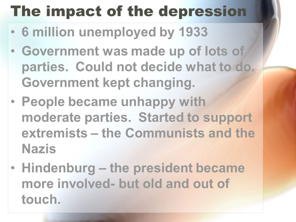 The impact of the depression 6 million unemployed by 1933 Government was made up of lots of parties. Could not decide what to do. Government kept chan