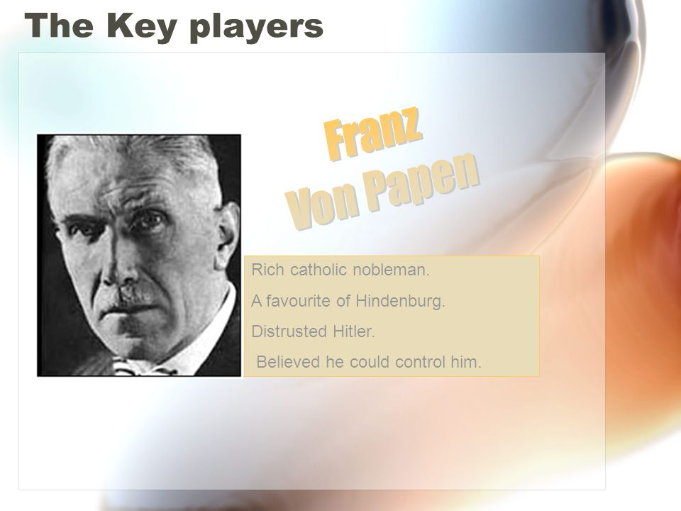 The Key players Former army leader.The main adviser to Hindenberg.