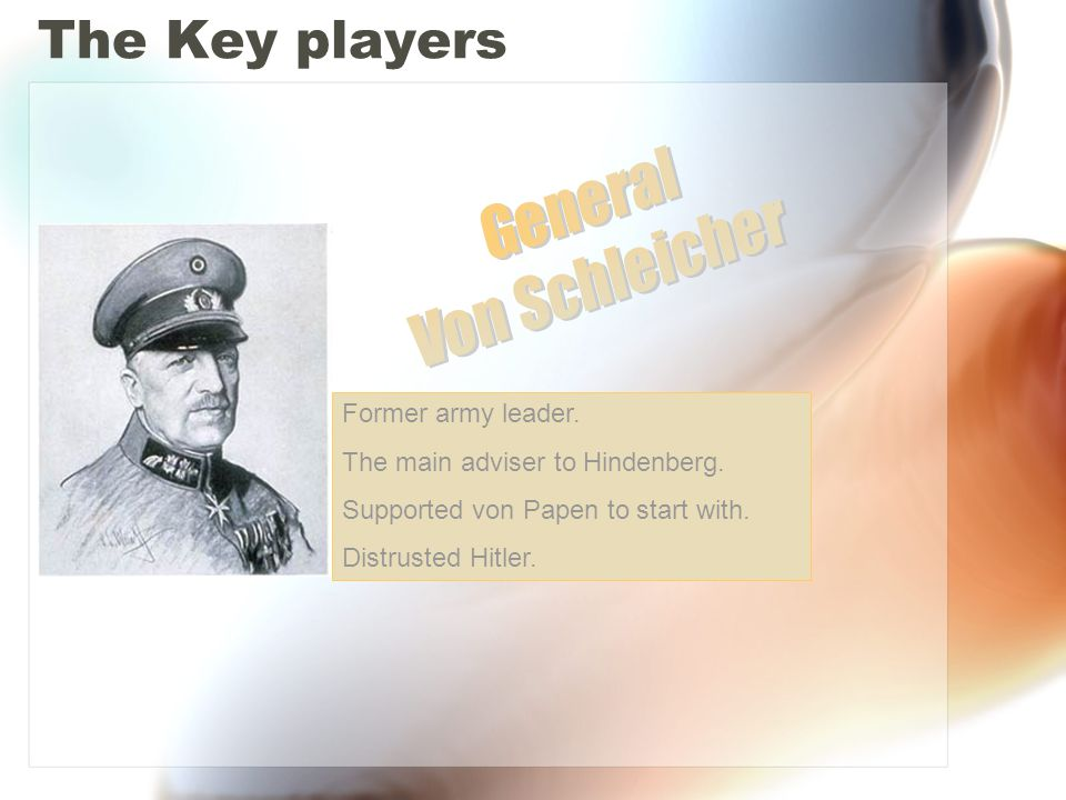The Key players Leader of the Nazi party.Former soldier.