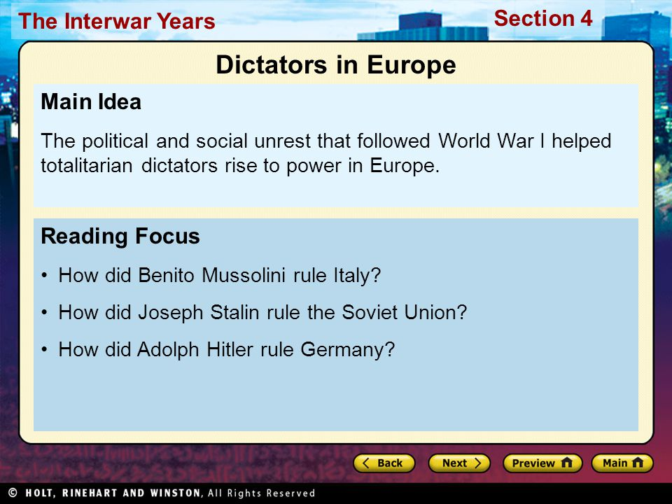 Section 4 The Interwar Years Germany underwent great changes after World War I.