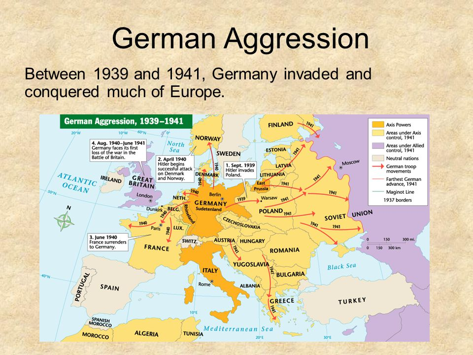 German Aggression Between 1939 and 1941, Germany invaded and conquered much of Europe.