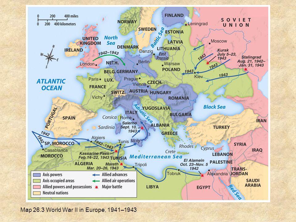 Map 26.3 World War II in Europe, 1941–1943