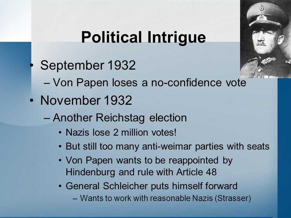 Political Intrigue September 1932 –Von Papen loses a no-confidence vote November 1932 –Another Reichstag election Nazis lose 2 million votes.