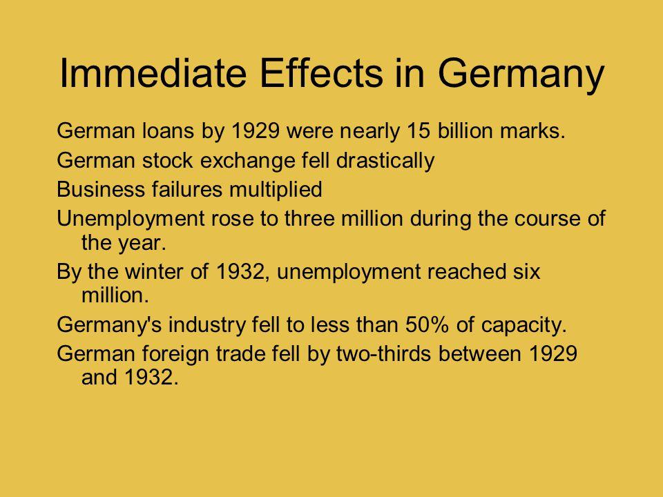 Immediate Effects in Germany German loans by 1929 were nearly 15 billion marks. German stock exchange fell drastically Business failures multiplied Un