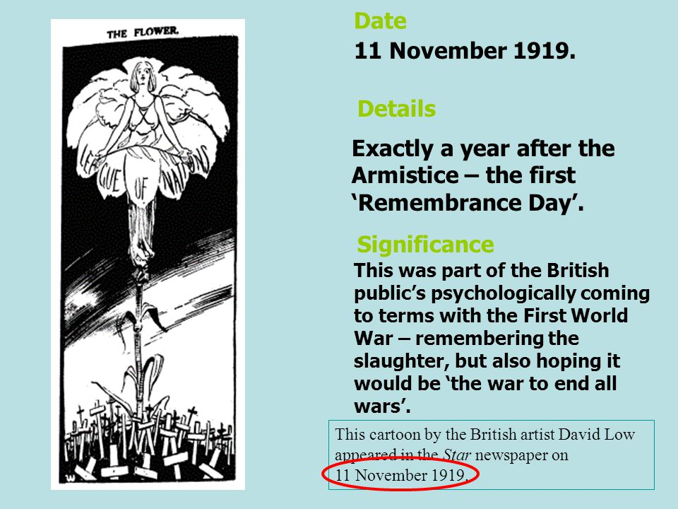 This cartoon by the British artist David Low appeared in the Star newspaper on 11 November 1919. Exactly a year after the Armistice – the first 'Remem