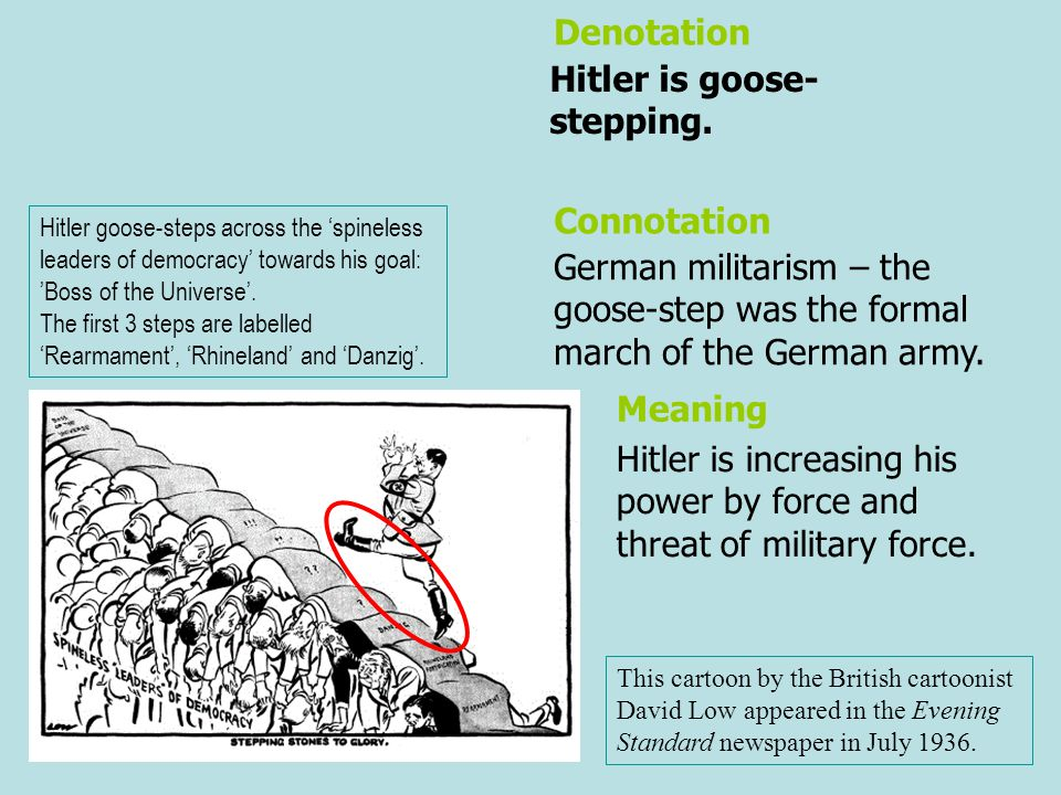 Hitler is goose- stepping. German militarism – the goose-step was the formal march of the German army. Denotation Connotation Meaning Hitler is increa