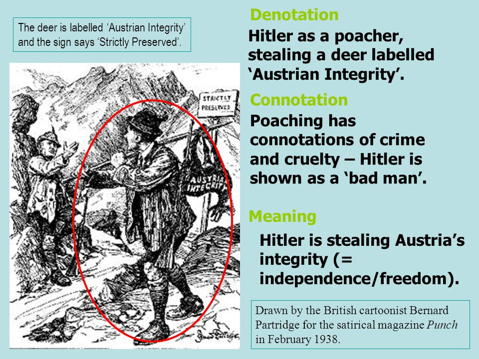 Hitler as a poacher, stealing a deer labelled 'Austrian Integrity'. Poaching has connotations of crime and cruelty – Hitler is shown as a 'bad man'. D