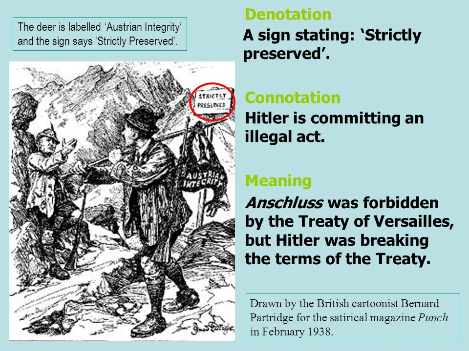 A sign stating: 'Strictly preserved'. Hitler is committing an illegal act. Denotation Connotation Drawn by the British cartoonist Bernard Partridge fo