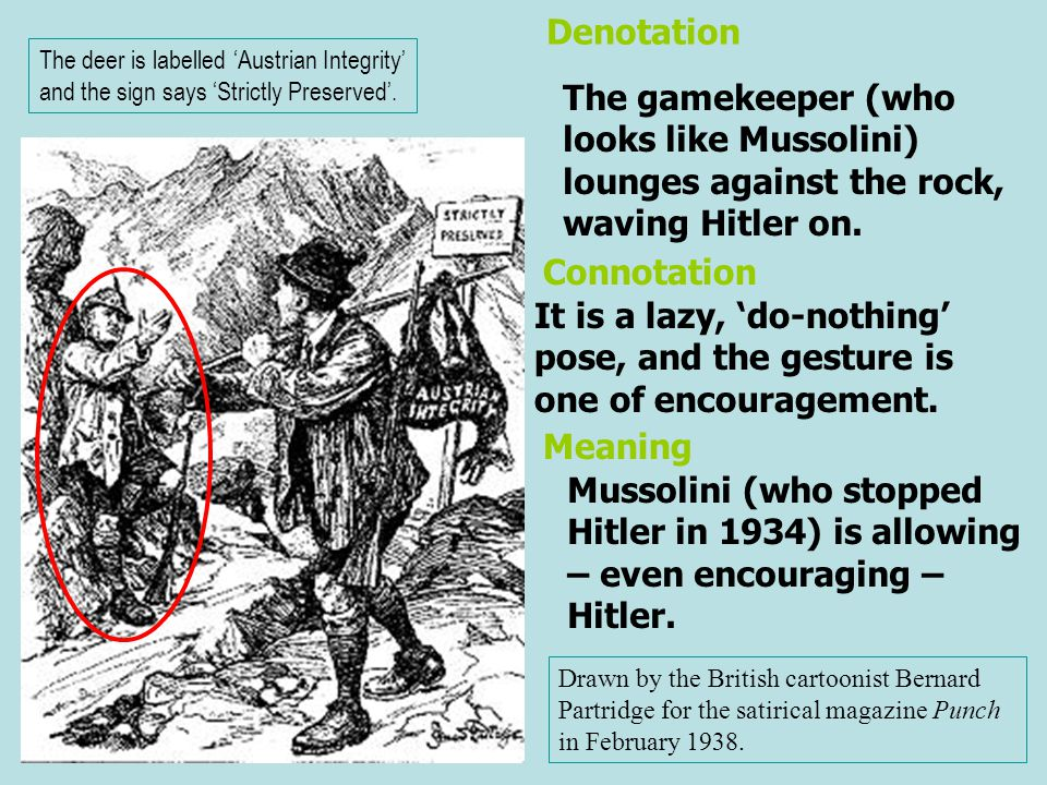 The gamekeeper (who looks like Mussolini) lounges against the rock, waving Hitler on. It is a lazy, 'do-nothing' pose, and the gesture is one of encou