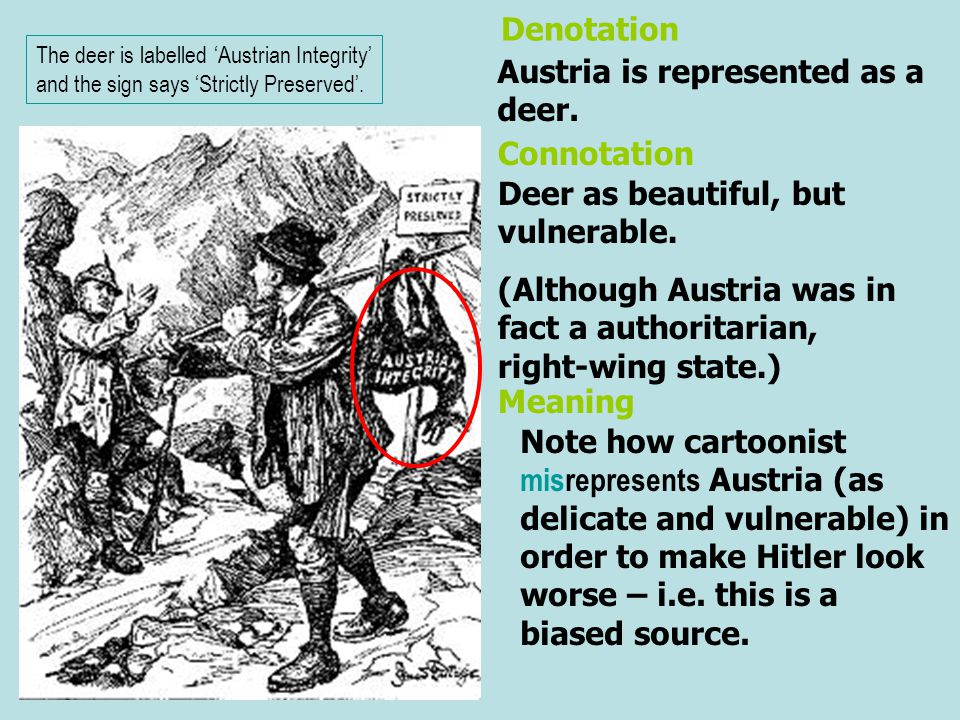 Austria is represented as a deer. Deer as beautiful, but vulnerable. (Although Austria was in fact a authoritarian, right-wing state.) Denotation Conn