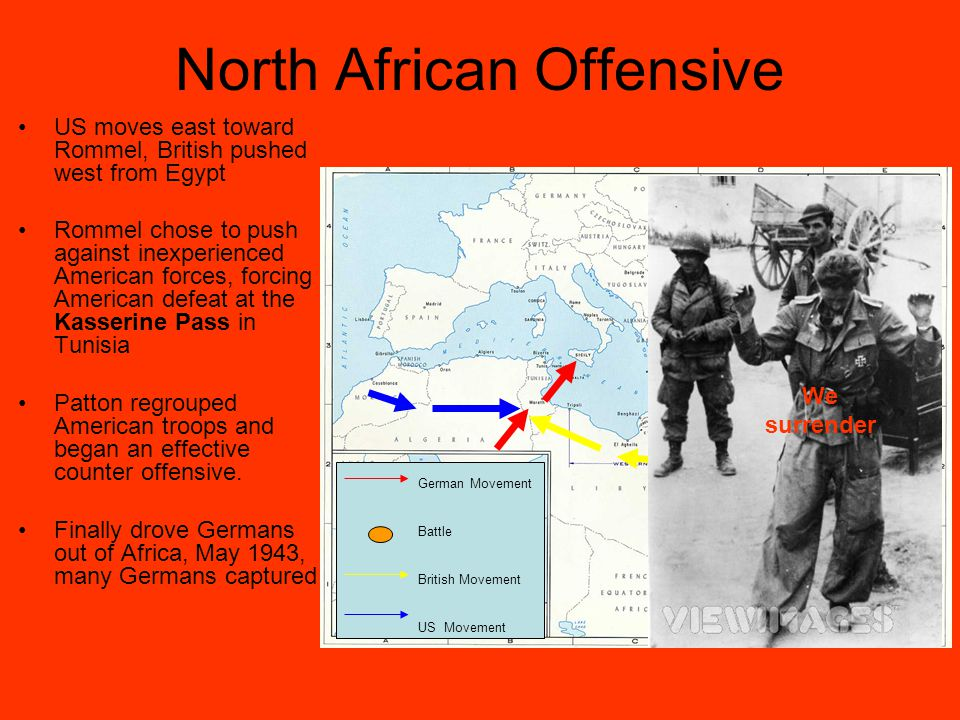 North African Offensive US moves east toward Rommel, British pushed west from Egypt Rommel chose to push against inexperienced American forces, forcing American defeat at the Kasserine Pass in Tunisia Patton regrouped American troops and began an effective counter offensive.