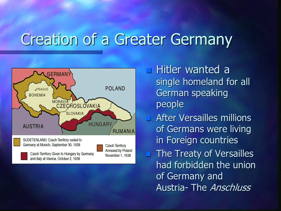LEBENSRAUM n Hitler's Greater Germany would have a population of over 85 million people n Germany's land would be insufficient to feed this many people n Hitler intended to expand eastward into Poland and Russia n Russians and Poles were Slavs-Hitler believed them to be inferior and so Germany was entitled to take their land.